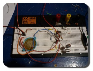 Finished circuit on breadboard